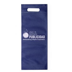 bolsa para botella de vino de tela ecologica en color azul en allpublicidad