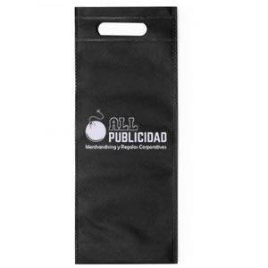 bolsa para botella de vino en tela ecologica de color negro en allpublicidad