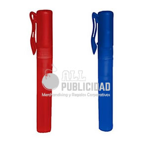 gel antibacterial en spray modelo lapicero color azul y rojo en allpublicidad