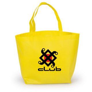 bolsa ecologica de notex con base 40x40x8 color amarillo